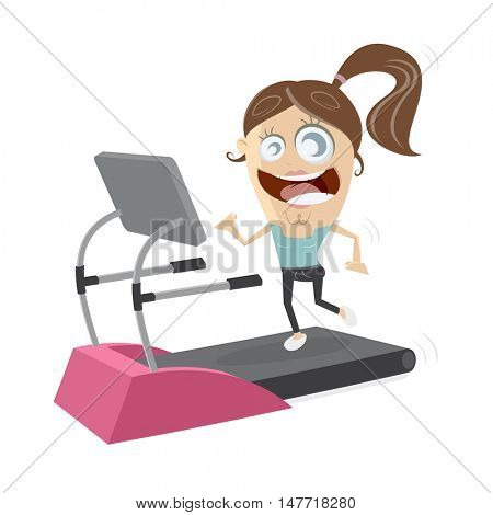 happy girl running on treadmill