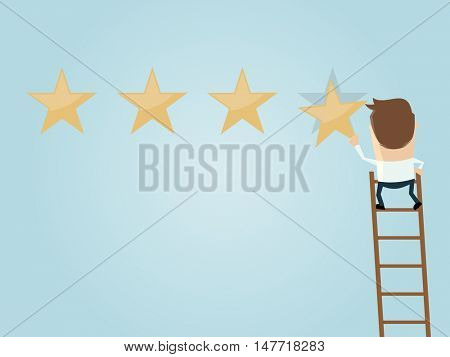 businessman attaching a premium quality star