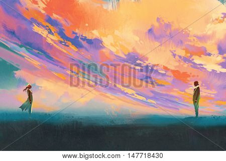 man and woman standing opposite of each other against colorful sky, illustration painting