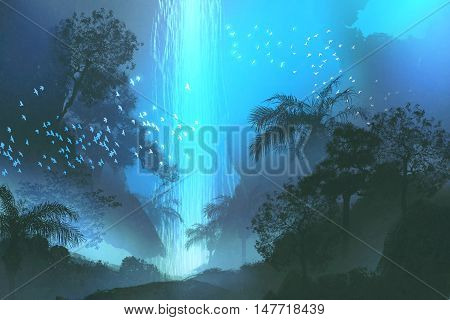 night scenery showing blue waterfall in forest, landscape painting, illustration
