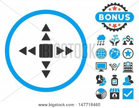 Direction Triangles icon with bonus images. Vector illustration style is flat iconic bicolor symbols blue and gray colors white background.