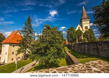 Monumental Church Of St. Aegidius In Bardejov Old City Center With Park, Bardejov, Slovakia.