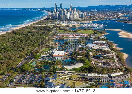 SURFERS PARADISE, AUS - SEPT 04 2016 Aerial view of Seaworld theme park with skyline of Surfers Paradise and beach, Gold Coast, Australia.