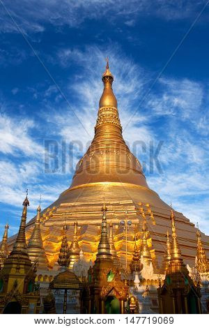 Shwedagon Pagoda view in Yangon Myanmar. The pagoda is situated on Singuttara Hill and dominates the Yangon skyline.