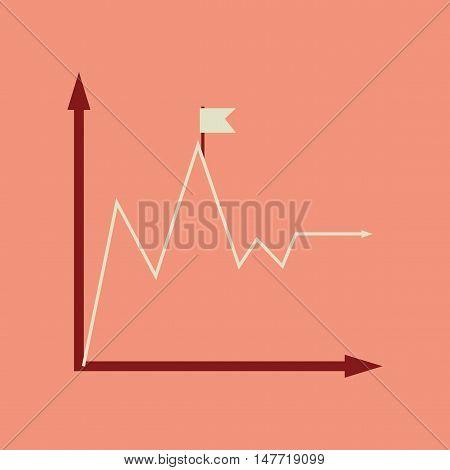 Flat web icon on stylish  background economy graph