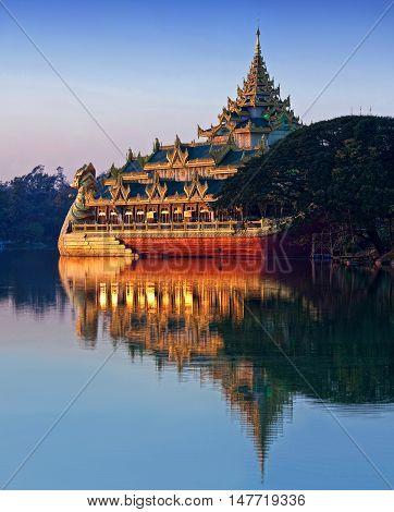Famous Barge Karaweik on Kandawgyi lake in Yangon, Myanmar