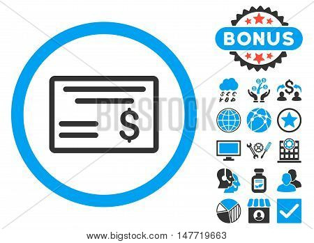 Dollar Cheque icon with bonus pictogram. Vector illustration style is flat iconic bicolor symbols, blue and gray colors, white background.