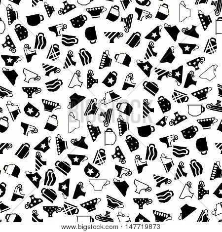 Set of Coffee Cups Seamless Pattern on White Background