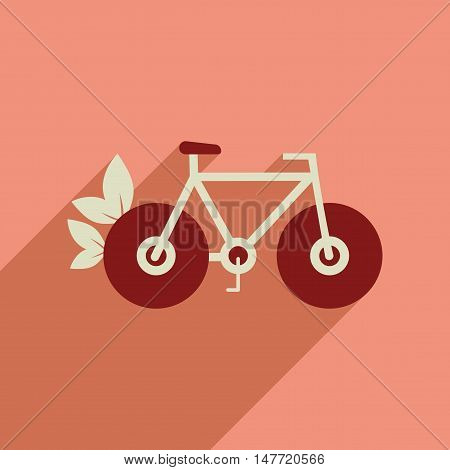 Flat web icon with long  shadow bicycle