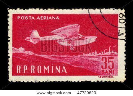 ROMANIA - CIRCA 1960: A stamp printed in Romania shows red cross aircraft, circa 1960
