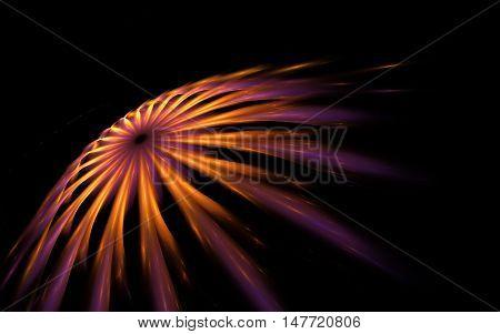 Rapid cosmic comet dark purple and yellow flying fractal