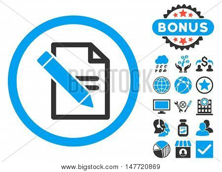 Edit Records icon with bonus pictogram. Vector illustration style is flat iconic bicolor symbols blue and gray colors white background.