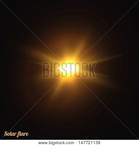 Sun realistic isolated. Effect of sunlight vector. Glow light effect. Star sun.