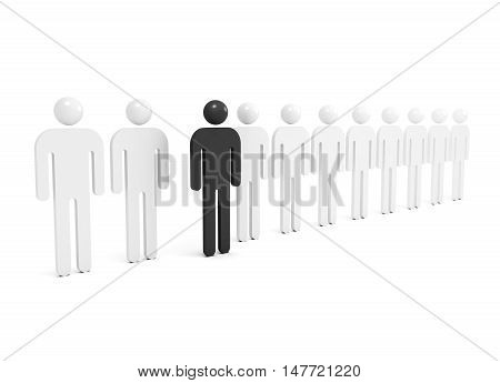 Row Of Abstract White People With One Black