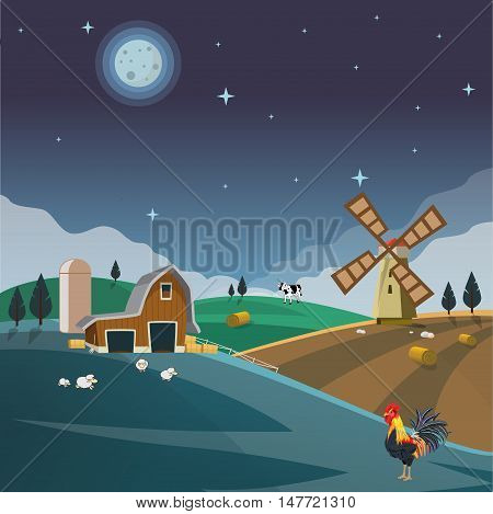 Farm field flat countryside night landscape. Organic food agriculture concept for any design. Farmland with farm house, hay bale, barn, mill, windmill, sheep, cow, Background vector illustration.