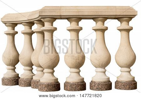 stone railing baroque, construction, balustrade on a white background