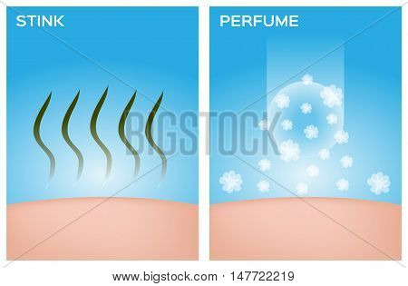 stink skin and skin with perfume vector