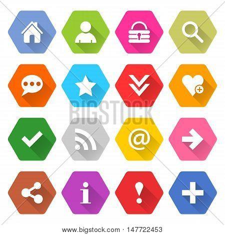 Flat basic icon 16 set rounded hexagon web button on white background. Simple minimalistic mono long shadow style. Vector illustration internet design graphic element 10 eps