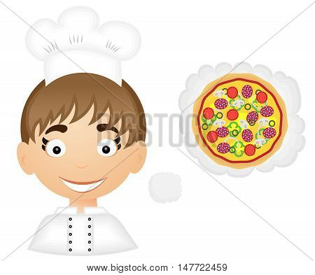 Cartoon smilling chef with pizza. Vector illustration.