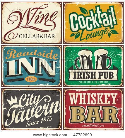 Vintage tin signs collection with various drinks and beverages themes on old rusty background. Wine cellar and bar, cocktail lounge, roadside inn, Irish pub, city tavern and whiskey bar.