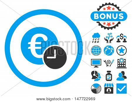 Euro Credit icon with bonus symbols. Vector illustration style is flat iconic bicolor symbols, blue and gray colors, white background.
