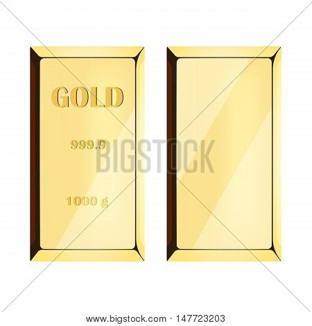 Gold bar on white background, precious metal of yellow color. vector illustration