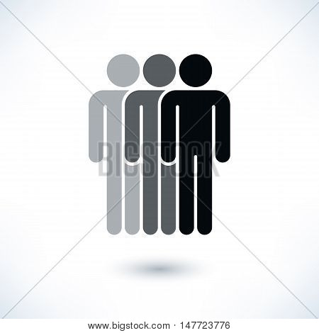 Black three people man figure with gray drop shadow isolated on white background in flat style. Graphic design elements save in vector illustration 8 eps