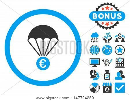 Euro Parachute icon with bonus pictures. Vector illustration style is flat iconic bicolor symbols, blue and gray colors, white background.
