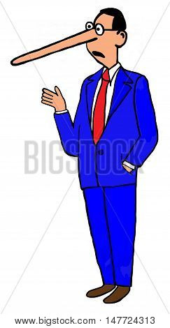Color illustration of a man with a very long nose.