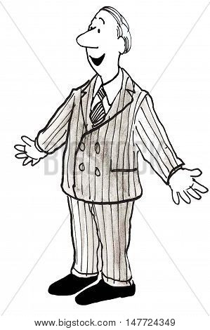 B&W illustration of a smiling man wearing a double breasted suit with his arms open to the sides.