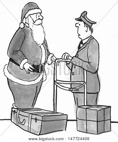 B&W Christmas illustration showing Santa Claus picking up gifts at the airport.