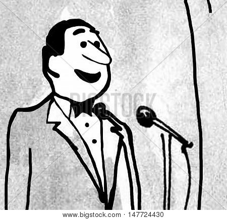 B&W closeup illustration of a man wearing a tuxedo speaking into a microphone.