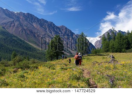 ALTAY, RUSSIA - JULY 21, 2007: Tourists walking on the road to Aktru Glacier in the Altay Mountains Russia.