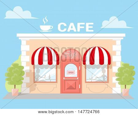 Facade cafe with a signboard awning and silhouettes people in shopwindow. Abstract image in a flat design. Front shop for Concept brochure or banner. Vector illustration isolated on blue background