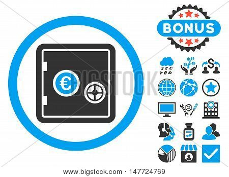 Euro Safe icon with bonus design elements. Vector illustration style is flat iconic bicolor symbols, blue and gray colors, white background.