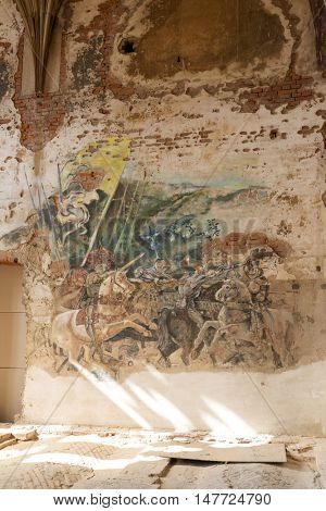 KAMIENIEC ZABKOWICKI - SEPTEMBER 10: Destroyed frescoes in Marianne Oranska Palace on 10 September 2016 in Kamieniec Zabkowicki, Poland. Palace was built in the second half of the nineteenth century.