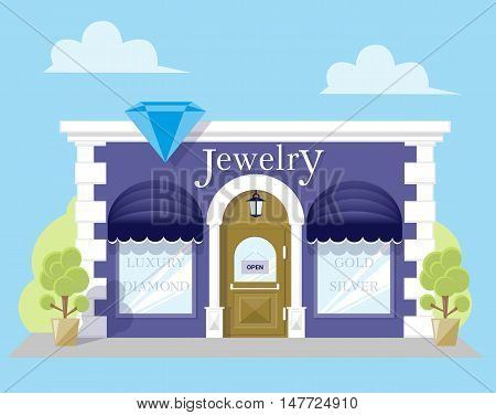 Facade jewelry store with a signboard awning and silhouettes title in shopwindow. Image in a flat design. Front shop for Concept brochure or banner. Vector illustration isolated on blue background
