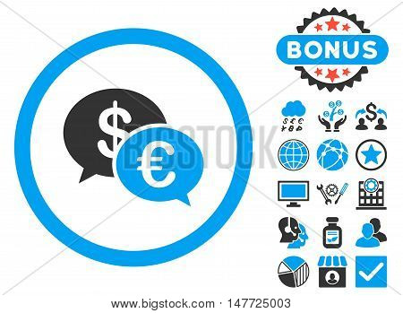 Euro Transactions icon with bonus pictures. Vector illustration style is flat iconic bicolor symbols, blue and gray colors, white background.