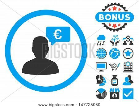 European Person Opinion icon with bonus elements. Vector illustration style is flat iconic bicolor symbols, blue and gray colors, white background.