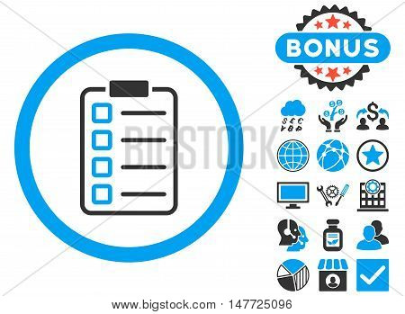 Examination icon with bonus design elements. Vector illustration style is flat iconic bicolor symbols blue and gray colors white background.
