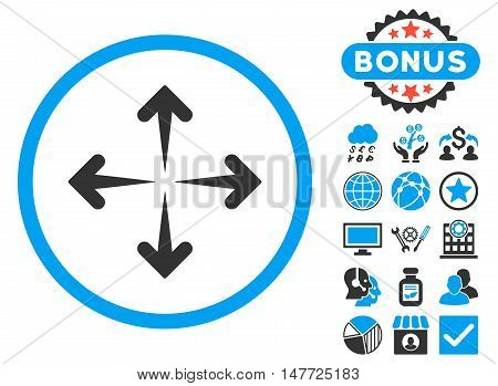 Expand Arrows icon with bonus symbols. Vector illustration style is flat iconic bicolor symbols blue and gray colors white background.