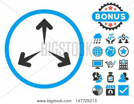 Expand Arrows icon with bonus elements. Vector illustration style is flat iconic bicolor symbols blue and gray colors white background.