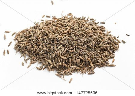 Close-up on a Cumin Seeds isolated in white background