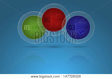 Three steps timeline business infographics in shape of circle with steel frame and transparent glass outer circle. 3 option modern diagram with reflection on blue gradient backdrop with icons in circular glass shape.