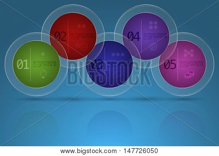 Modern five steps business timeline infographics in rounded shape with transparent glass outer circle on gradient blue backdrop with reflection. 5 options colorful rounded diagram with outline icons.