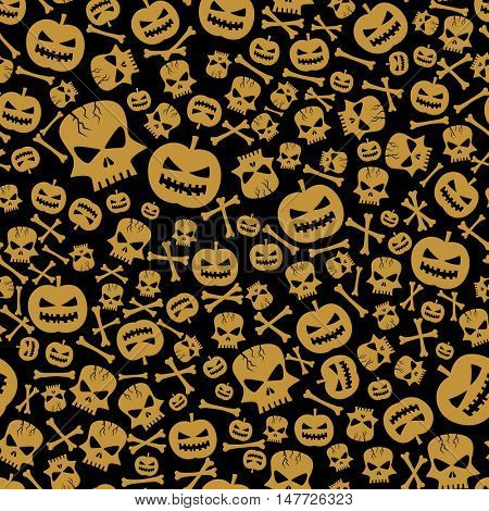 vector halloween seamless background with skull and pumpkin