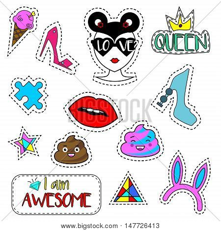 Colorful fashionable pins patches labels stickers isolated on white. Trendy design elements icons. Vector illustration