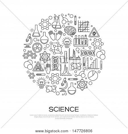 Chemistry Line Icons in Circle. Vector illustration. Science Laboratory Research Creative Concept.