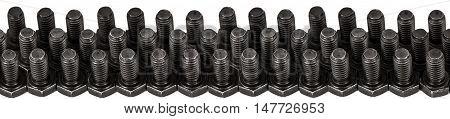 Hardened iron screws isolated on white background