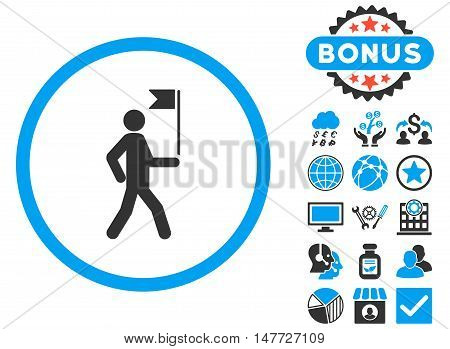 Guide icon with bonus symbols. Vector illustration style is flat iconic bicolor symbols, blue and gray colors, white background.